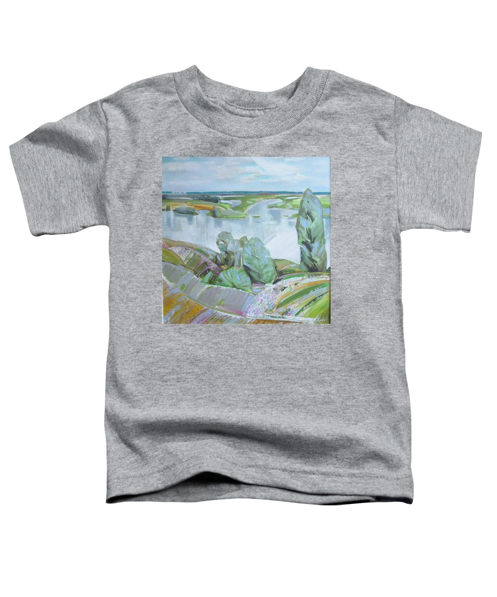 Landscape Toddler T-Shirt featuring the painting Dnepro River by Sergey Ignatenko
