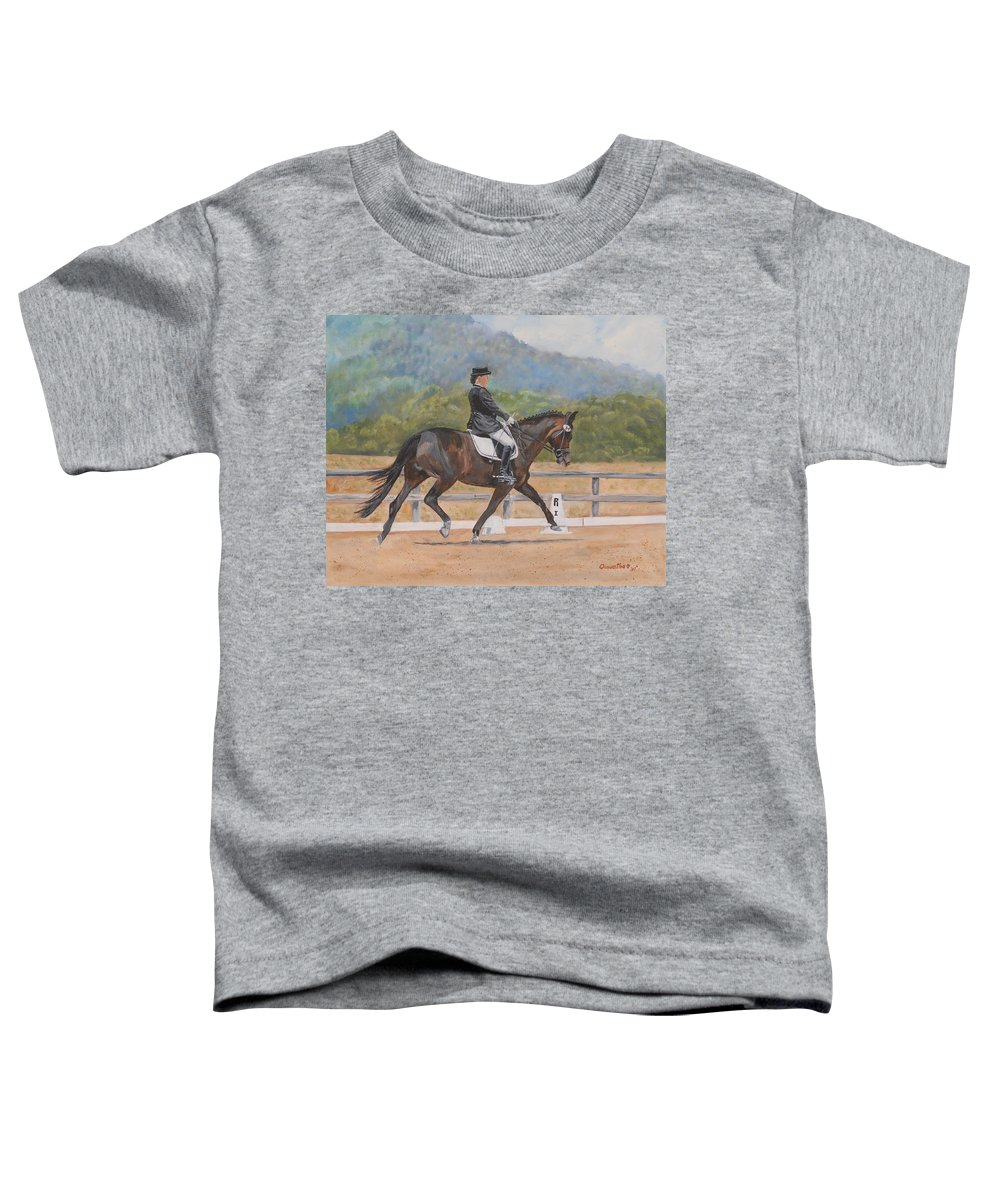 Horse Toddler T-Shirt featuring the painting Donnerlittchen by Quwatha Valentine