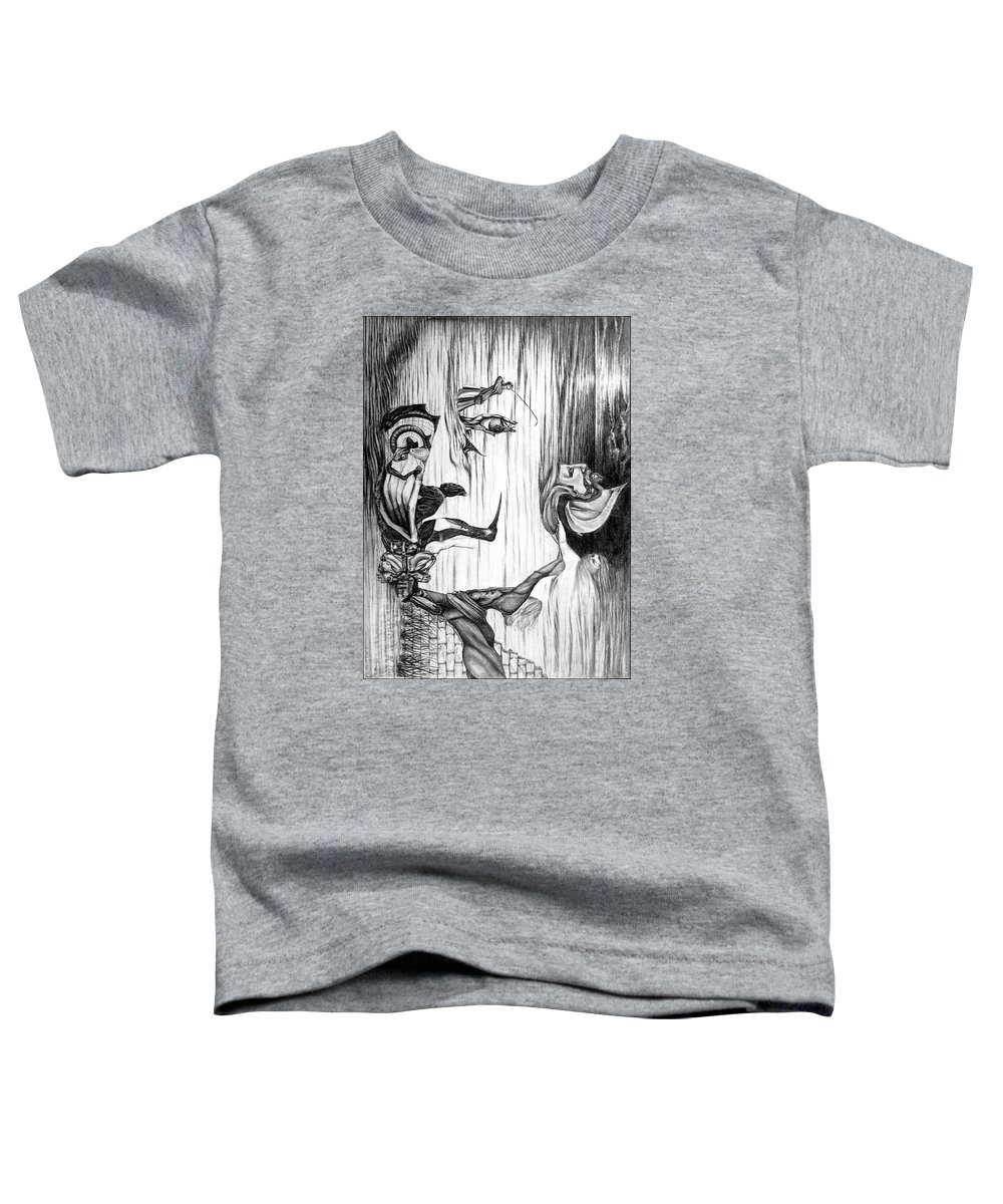 Salvador Dali Toddler T-Shirt featuring the drawing Doubly reversible portrait of Salvador Dali by Richard Meric