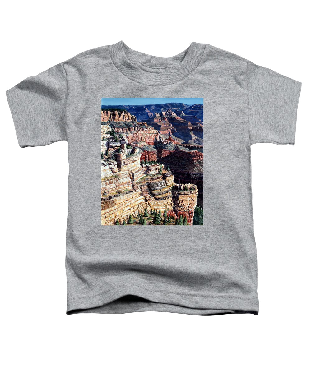 Tl Toddler T-Shirt featuring the painting Early Morning From The South Rim by Timithy L Gordon