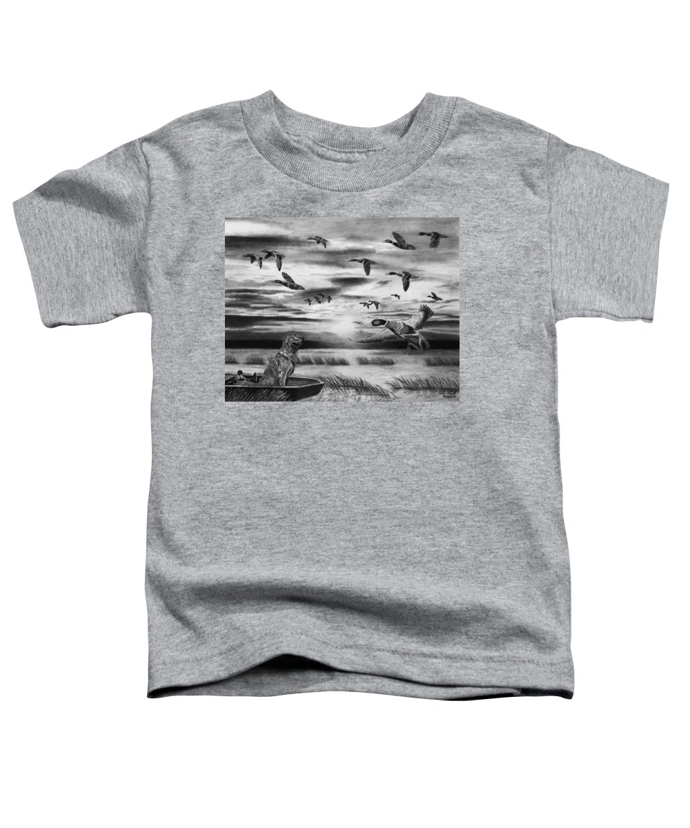 Early Morning Toddler T-Shirt featuring the drawing Early Morning by Peter Piatt