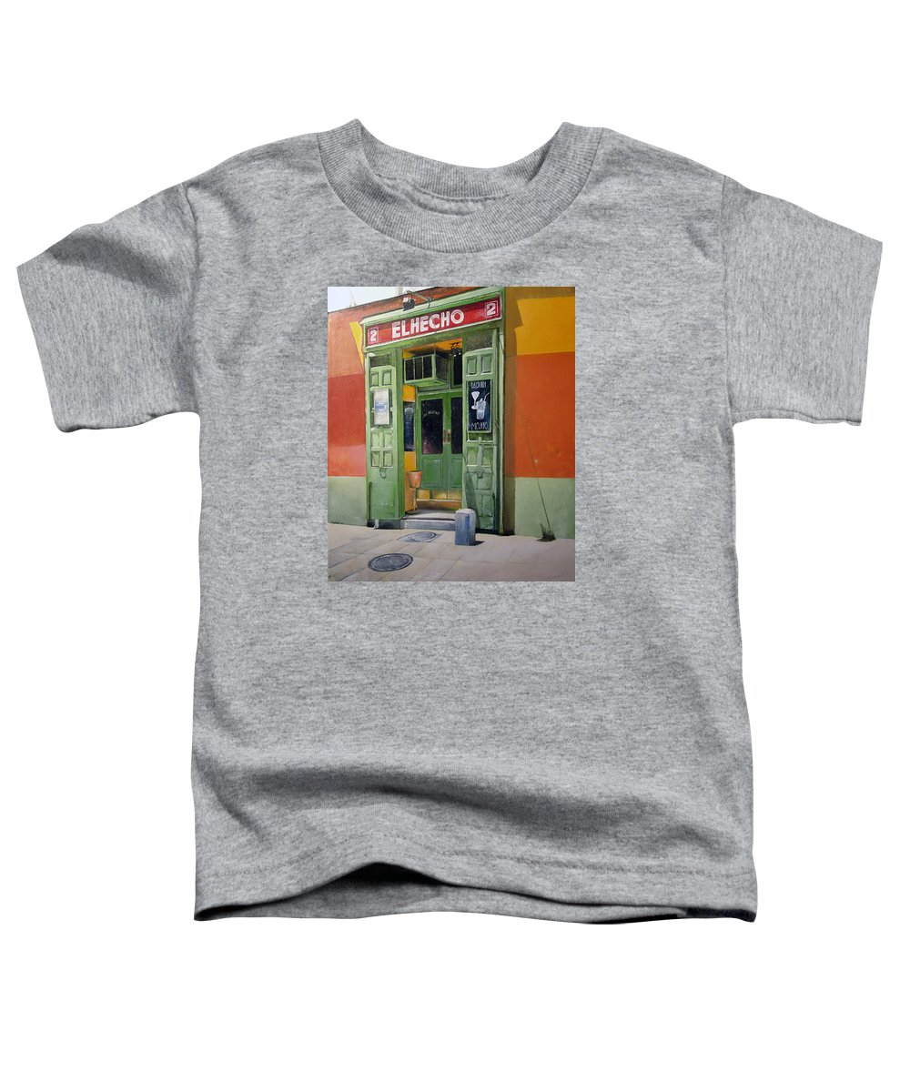 Hecho Toddler T-Shirt featuring the painting El Hecho Pub by Tomas Castano