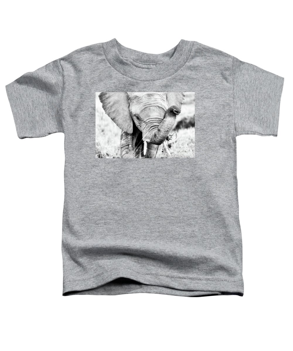 Elephant Toddler T-Shirt featuring the photograph Elephant Portrait In Black And White by Jane Rix