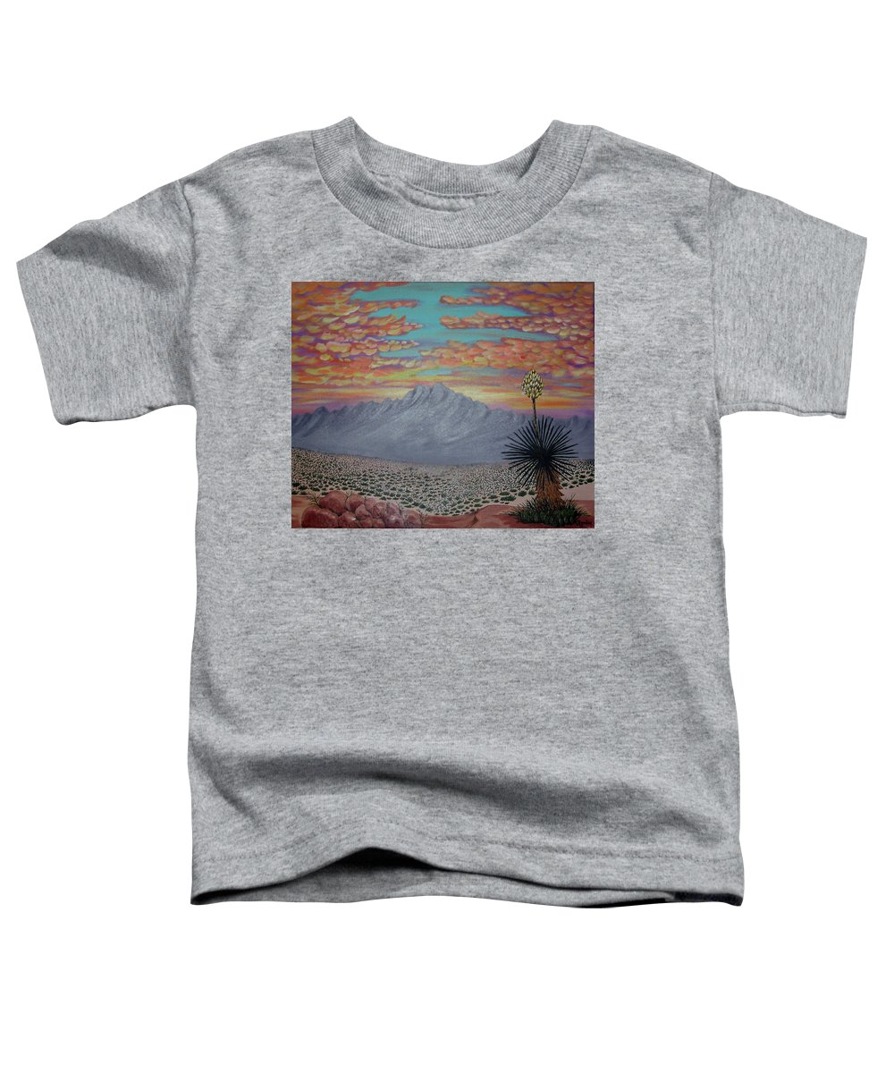 Desertscape Toddler T-Shirt featuring the painting Evening in the Desert by Marco Morales
