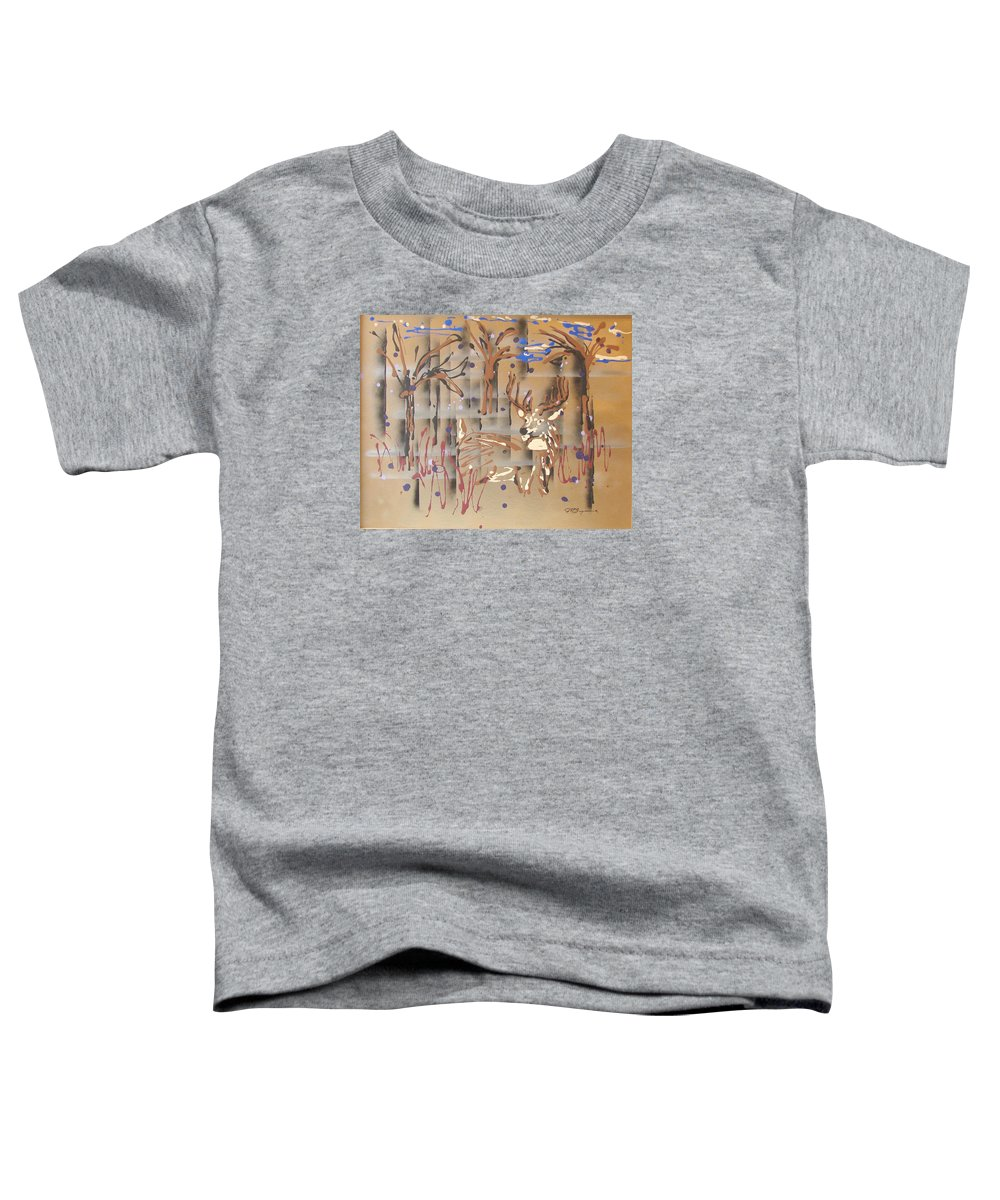 Buck In Tree Line Toddler T-Shirt featuring the painting Everwatchful by J R Seymour