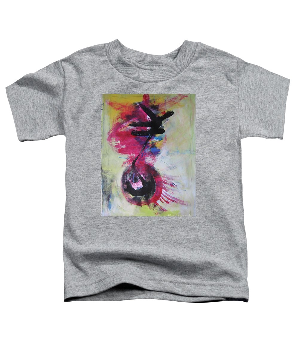 Abstract Paintings Red Paintings Toddler T-Shirt featuring the painting Everything A Mistake-abstract Red Painting by Seon-Jeong Kim