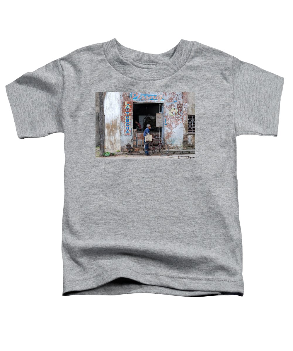 Camaguey; Cuba; Havanna; Habana; Kuba; Pizzeria Toddler T-Shirt featuring the photograph Ex-pizzeria In Camaguey by Marie Schleich