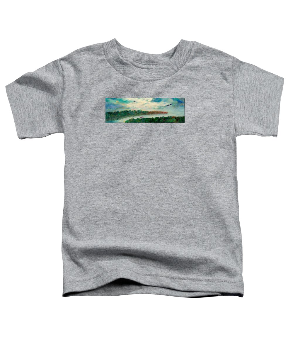 Canoeing On The Big Canadian Lakes Toddler T-Shirt featuring the painting Exploring Our Lake by Naomi Gerrard