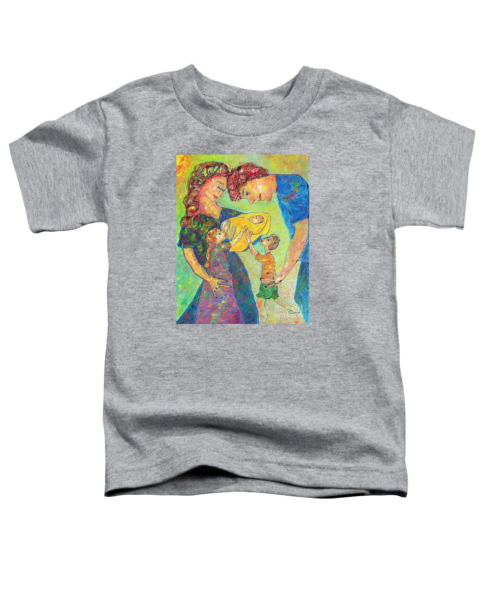 Family Enjoying Each Other Toddler T-Shirt featuring the painting Family Matters by Naomi Gerrard