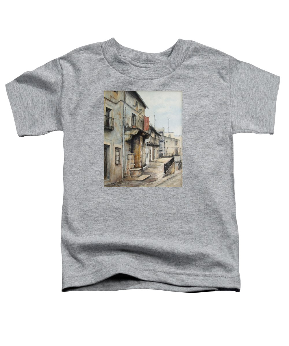Fermoselle Zamora Spain Oil Painting City Scapes Urban Art Toddler T-Shirt featuring the painting Fermoselle by Tomas Castano