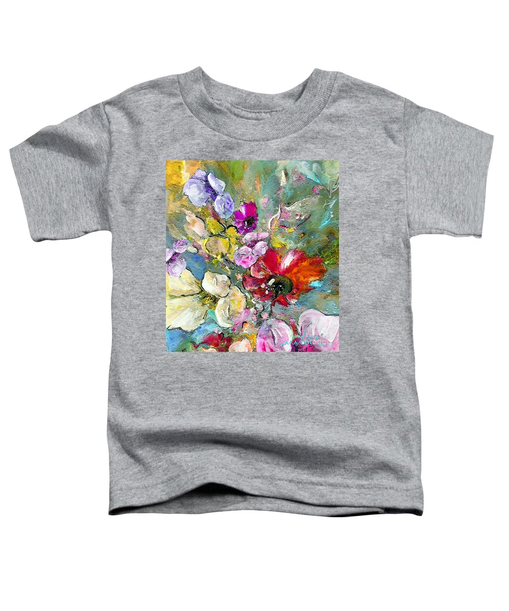 Nature Painting Toddler T-Shirt featuring the painting First Flowers by Miki De Goodaboom