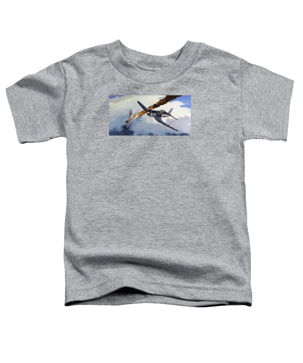 Military Toddler T-Shirt featuring the painting First Kill For The Jolly Rogers by Marc Stewart