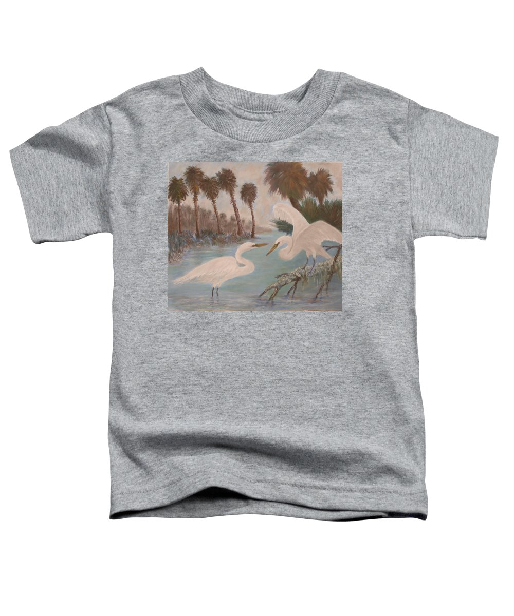 Egret Toddler T-Shirt featuring the painting First Meeting by Ben Kiger