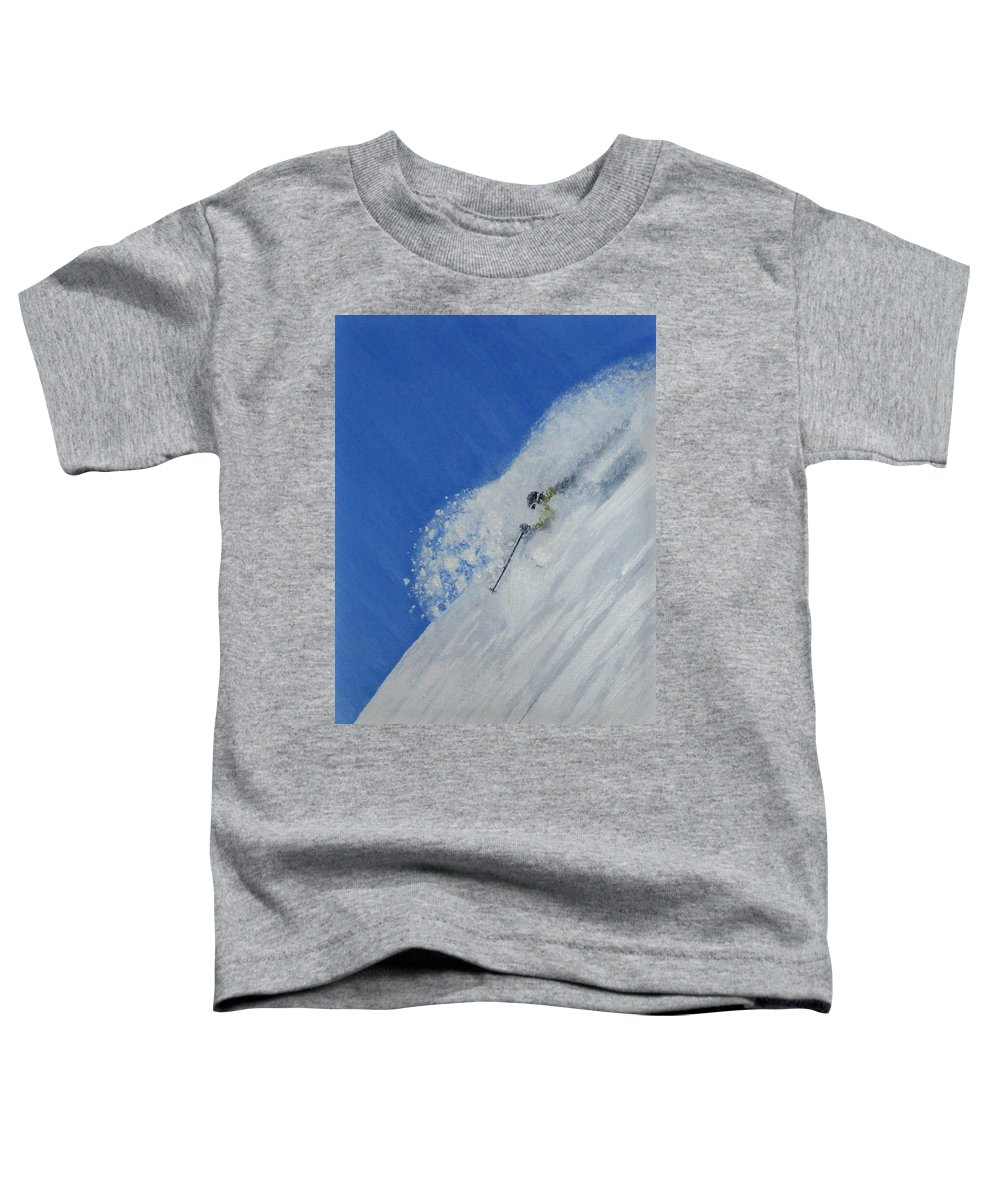 Ski Toddler T-Shirt featuring the painting First by Michael Cuozzo