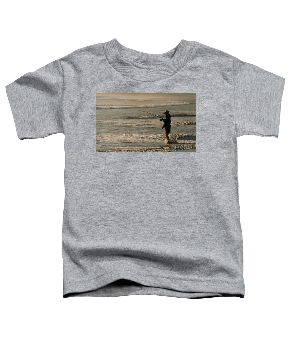 Fisherman Toddler T-Shirt featuring the photograph Fisherman by Steve Karol