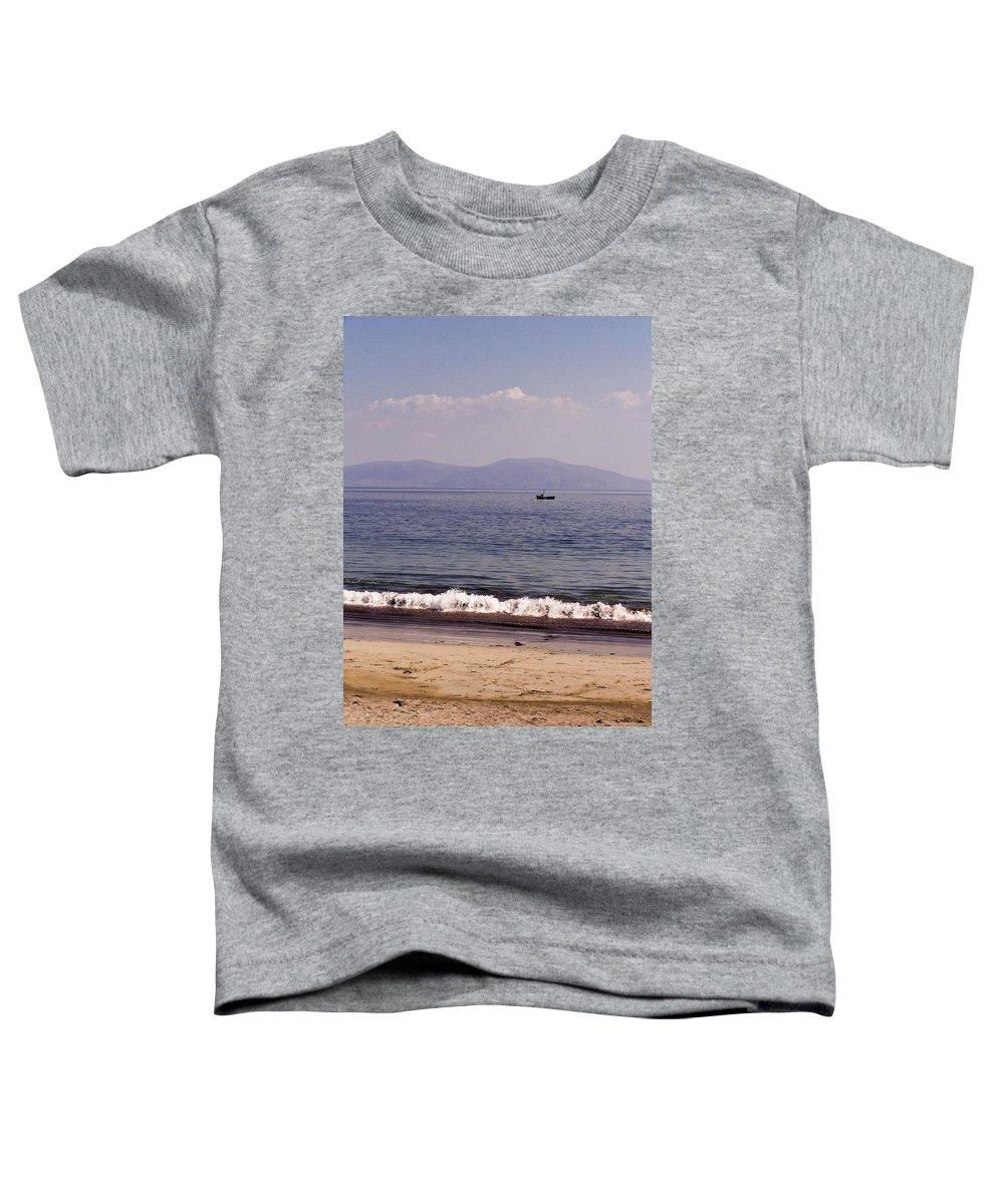 Irish Toddler T-Shirt featuring the photograph Fishing Boat On Ventry Harbor Ireland by Teresa Mucha
