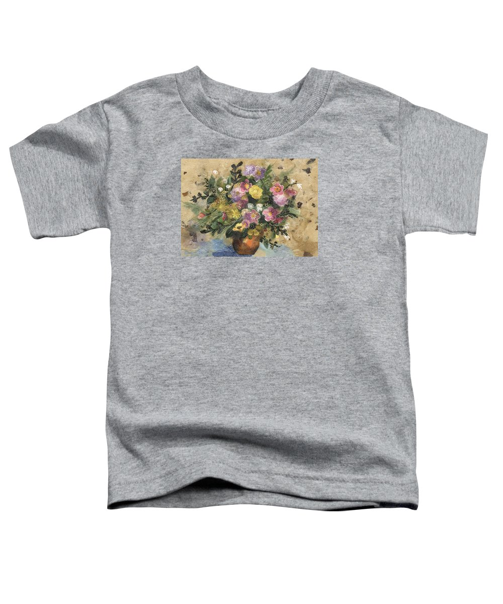 Limited Edition Prints Toddler T-Shirt featuring the painting Flowers In A Clay Vase by Nira Schwartz