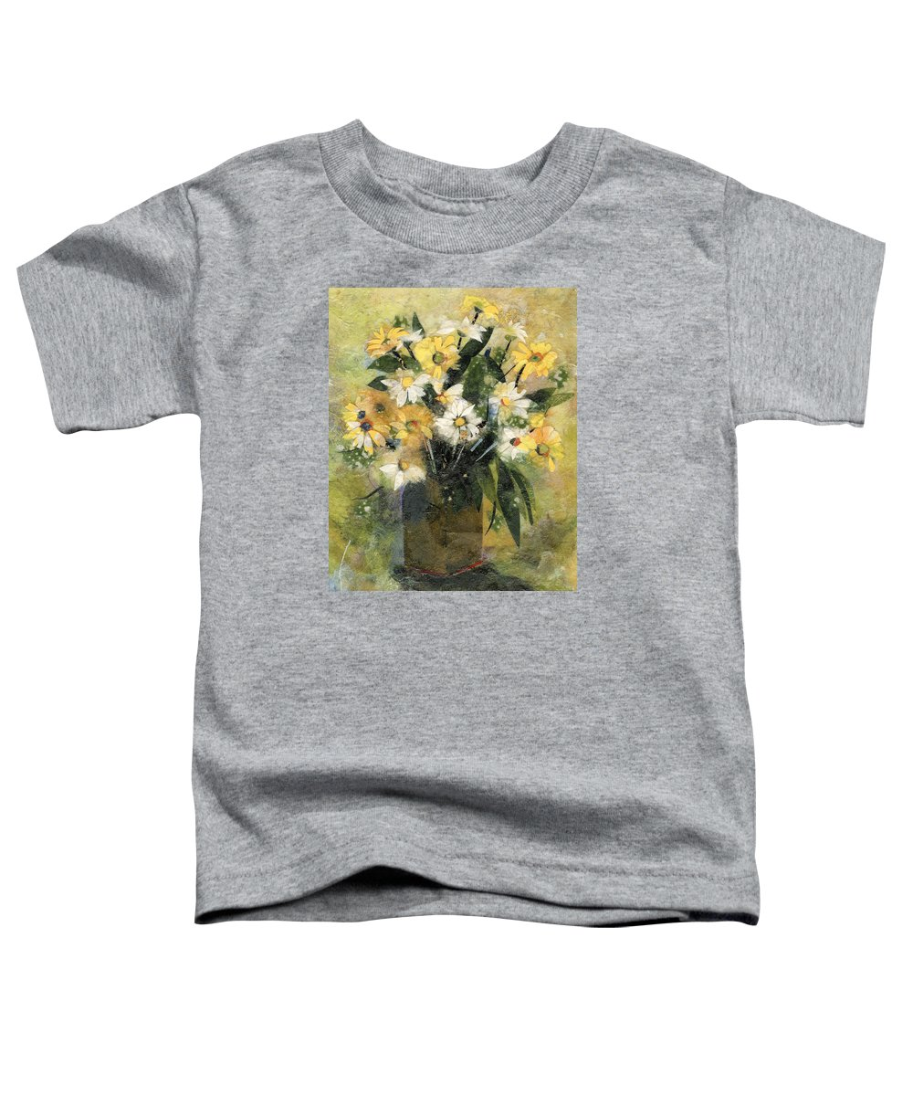 Limited Edition Prints Toddler T-Shirt featuring the painting Flowers In White And Yellow by Nira Schwartz