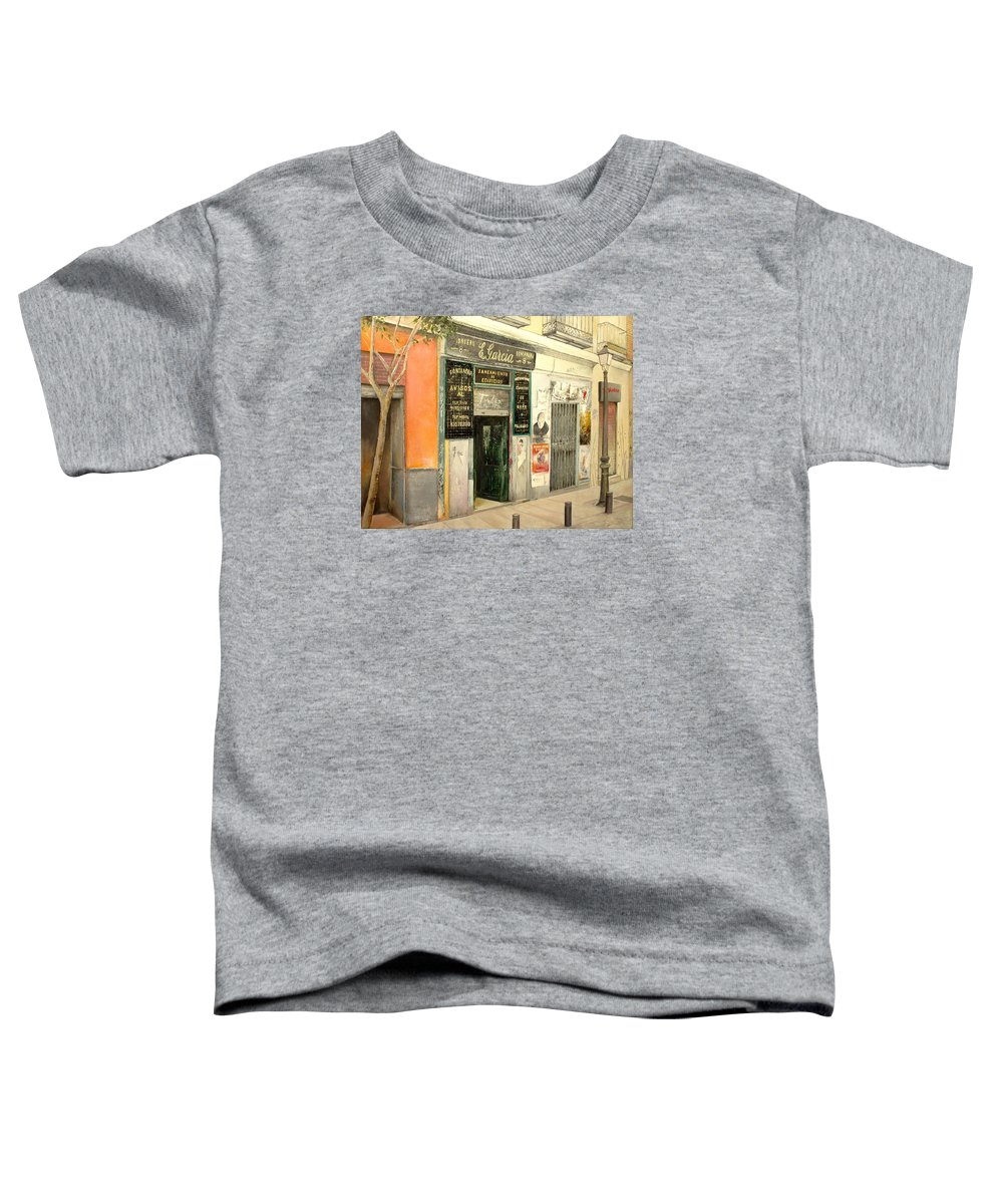 Streetscene Toddler T-Shirt featuring the painting Fontaneria E.garcia by Tomas Castano