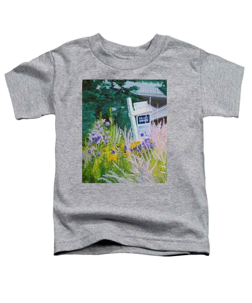 Landscape Toddler T-Shirt featuring the painting For Sale - A Patch Of Paradise by Lea Novak