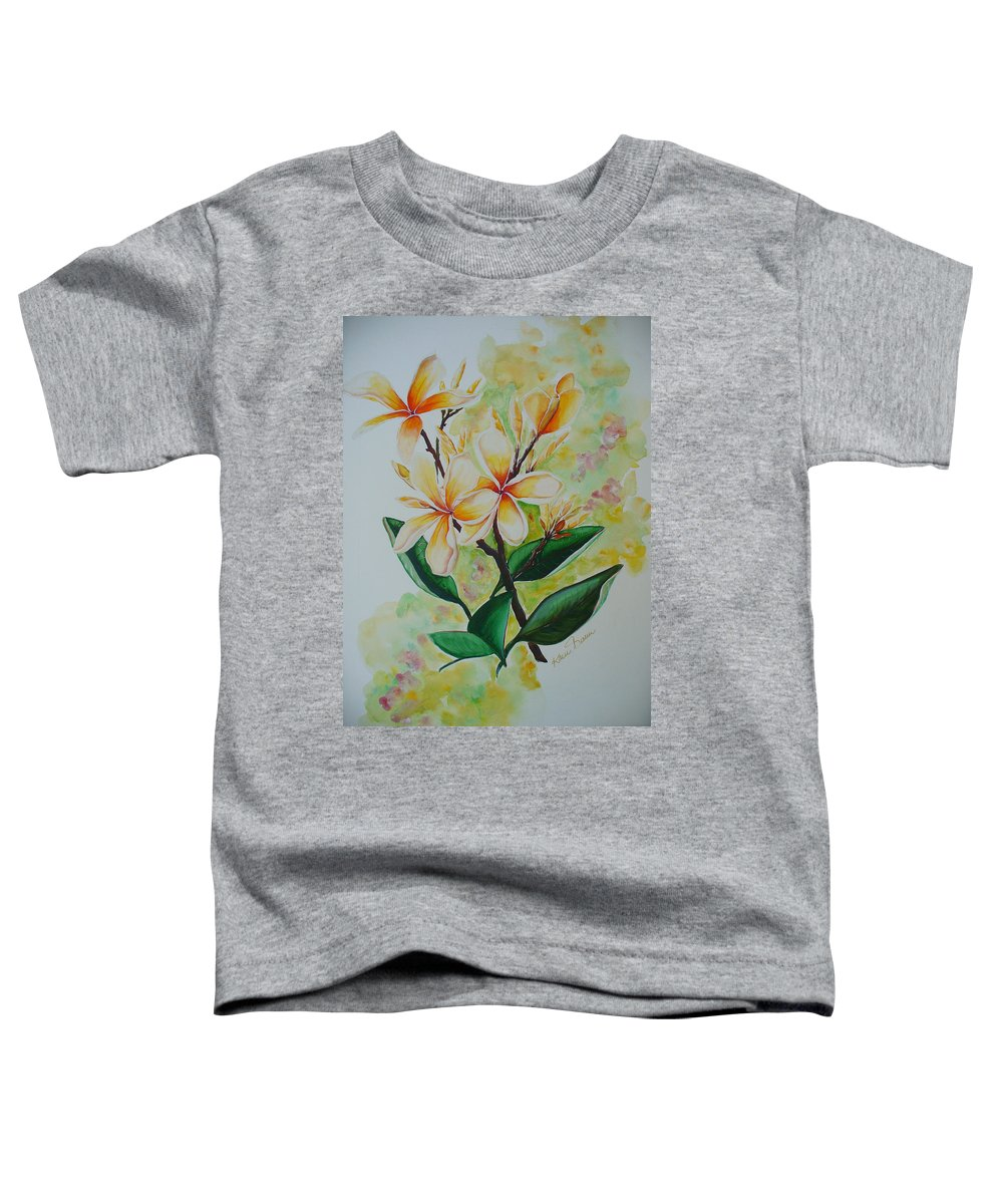 Toddler T-Shirt featuring the painting Frangipangi by Karin Dawn Kelshall- Best