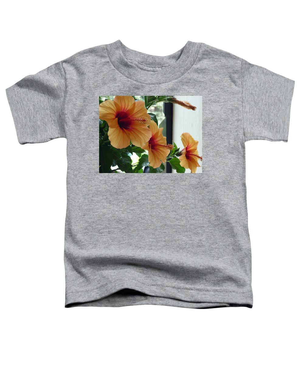 Photography Flower Floral Bloom Hibiscus Peach Toddler T-Shirt featuring the photograph Friends For A Day by Karin Dawn Kelshall- Best
