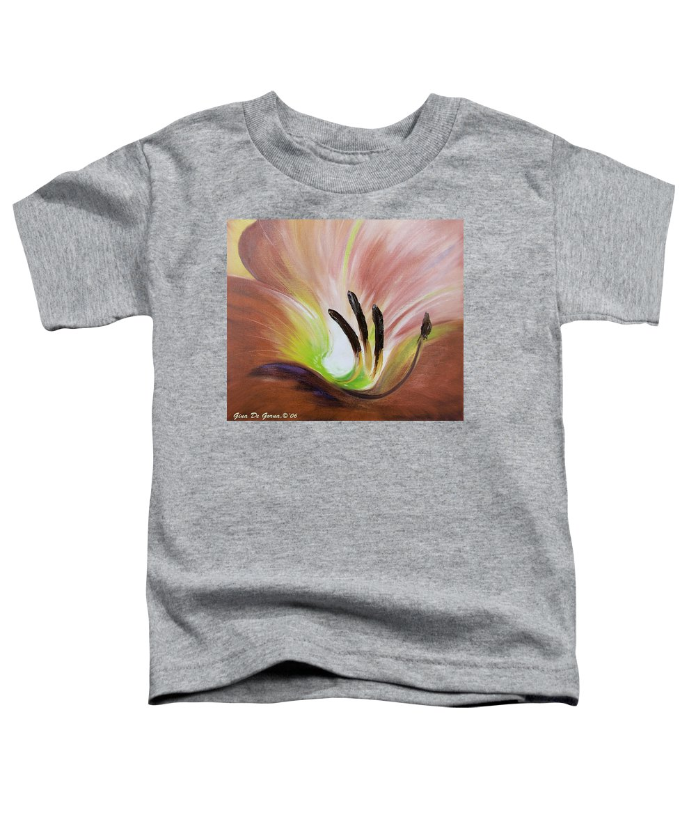 Brown Toddler T-Shirt featuring the painting From The Heart Of A Flower Brown 3 by Gina De Gorna