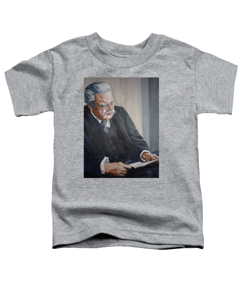 Chesterton Author Catholic Toddler T-Shirt featuring the painting G K Chesterton by Bryan Bustard
