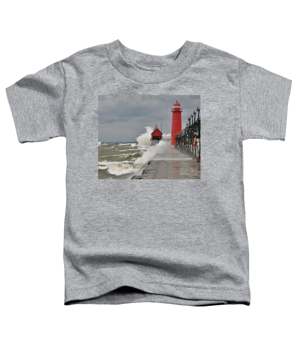 Light House Toddler T-Shirt featuring the photograph Gale Warnings by Robert Pearson
