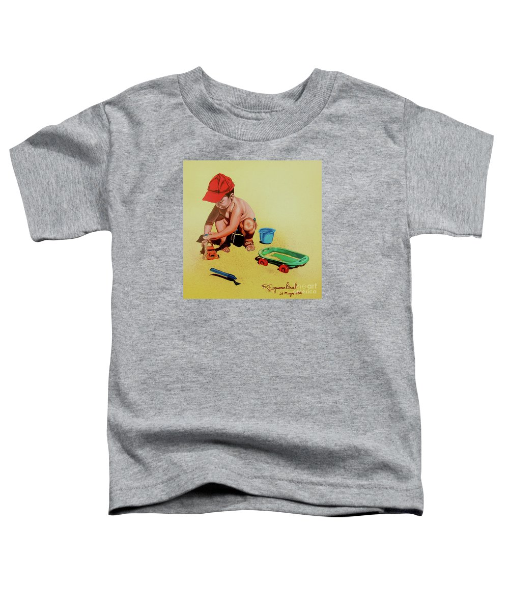 Beach Toddler T-Shirt featuring the painting Game At The Beach - Juego En La Playa by Rezzan Erguvan-Onal