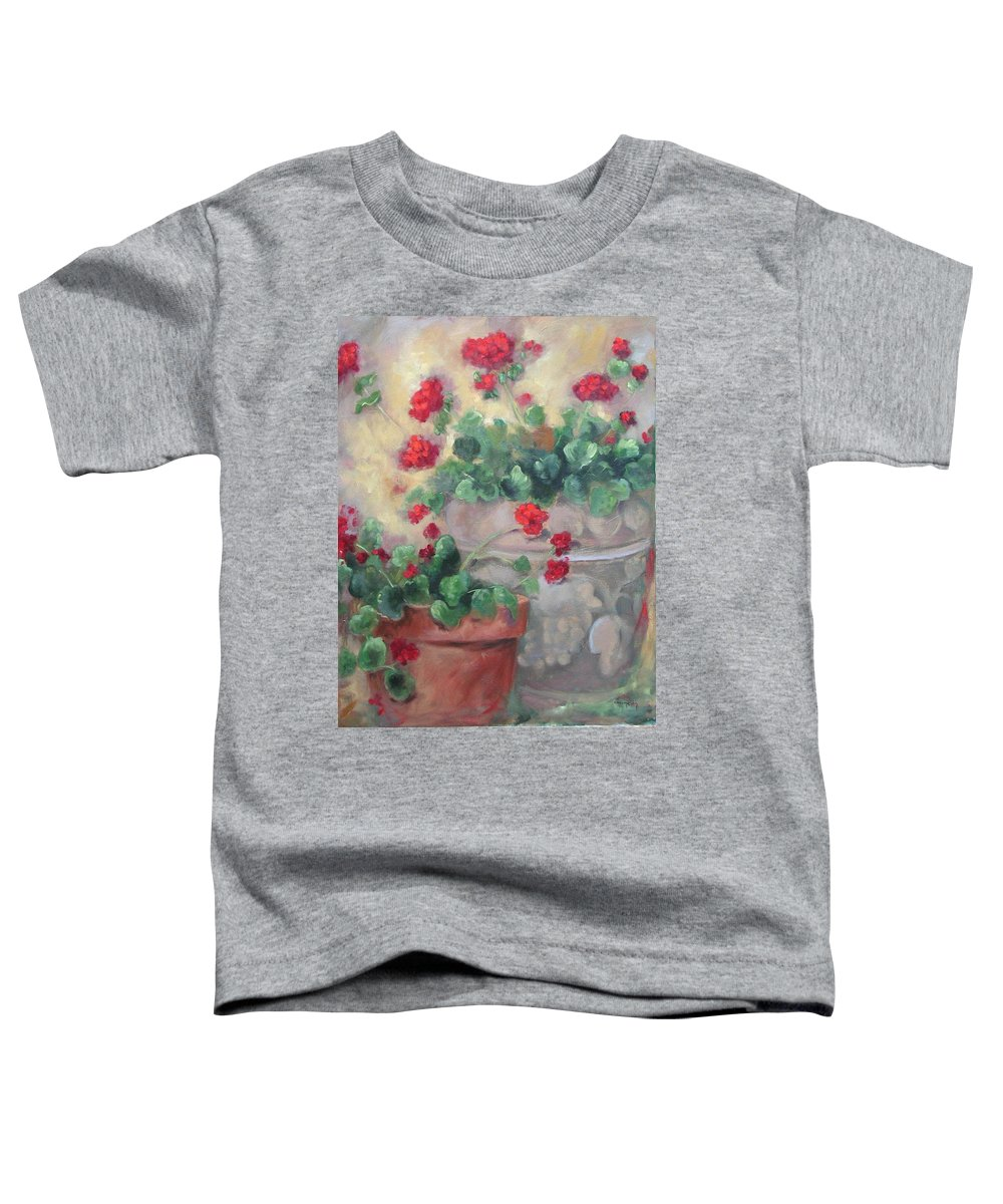 Geraniums Toddler T-Shirt featuring the painting Geraniums by Ginger Concepcion