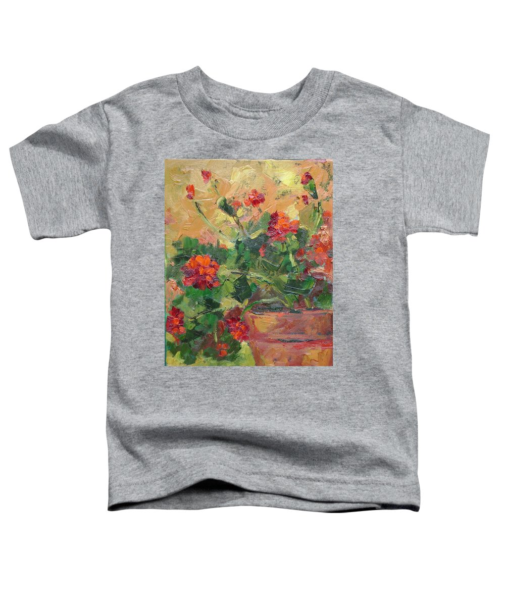 Geraniums Toddler T-Shirt featuring the painting Geraniums II by Ginger Concepcion