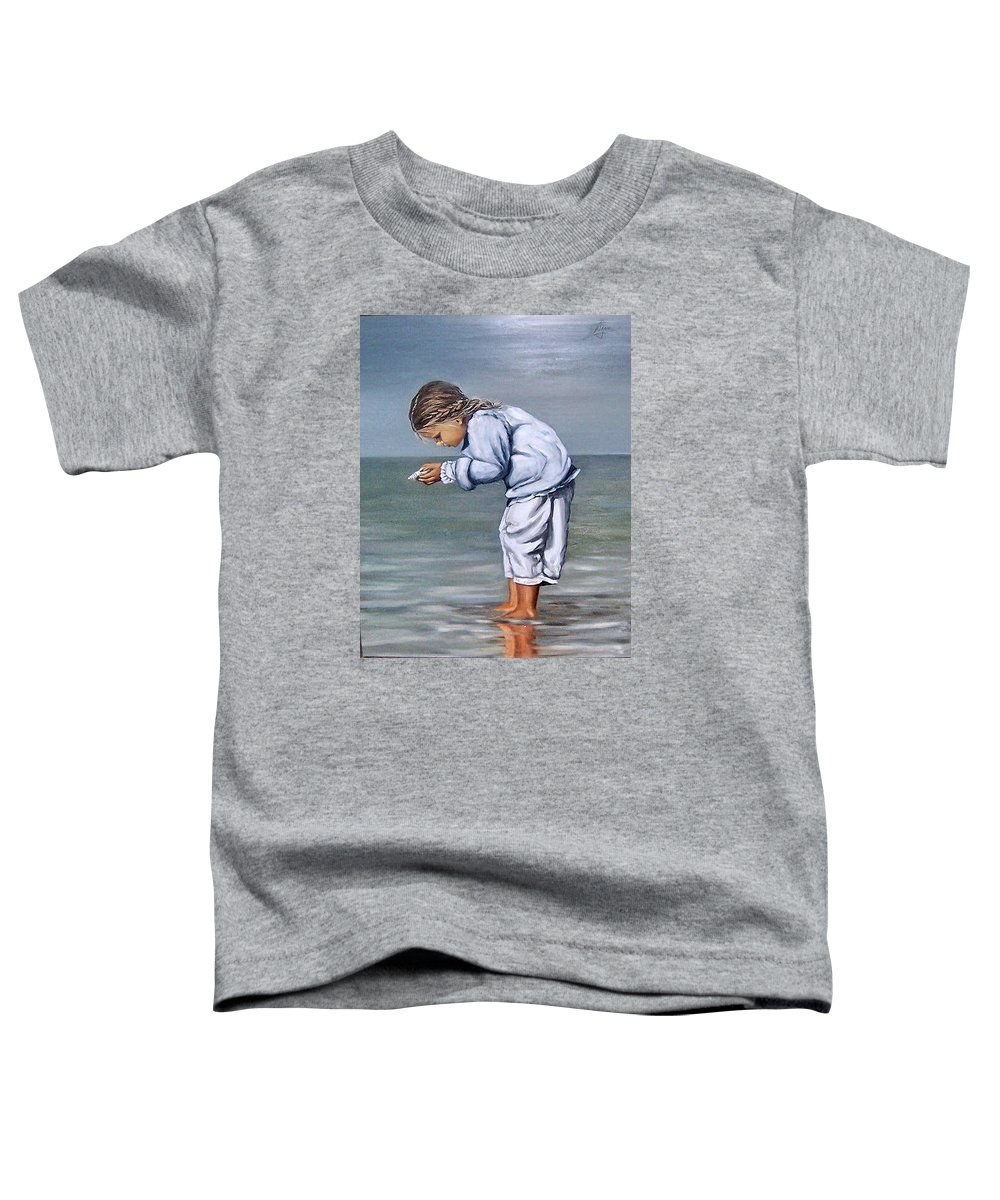 Kid Girl Seascape Sea Children Reflection Water Sea Shell Figurative Toddler T-Shirt featuring the painting Girl With Shell by Natalia Tejera