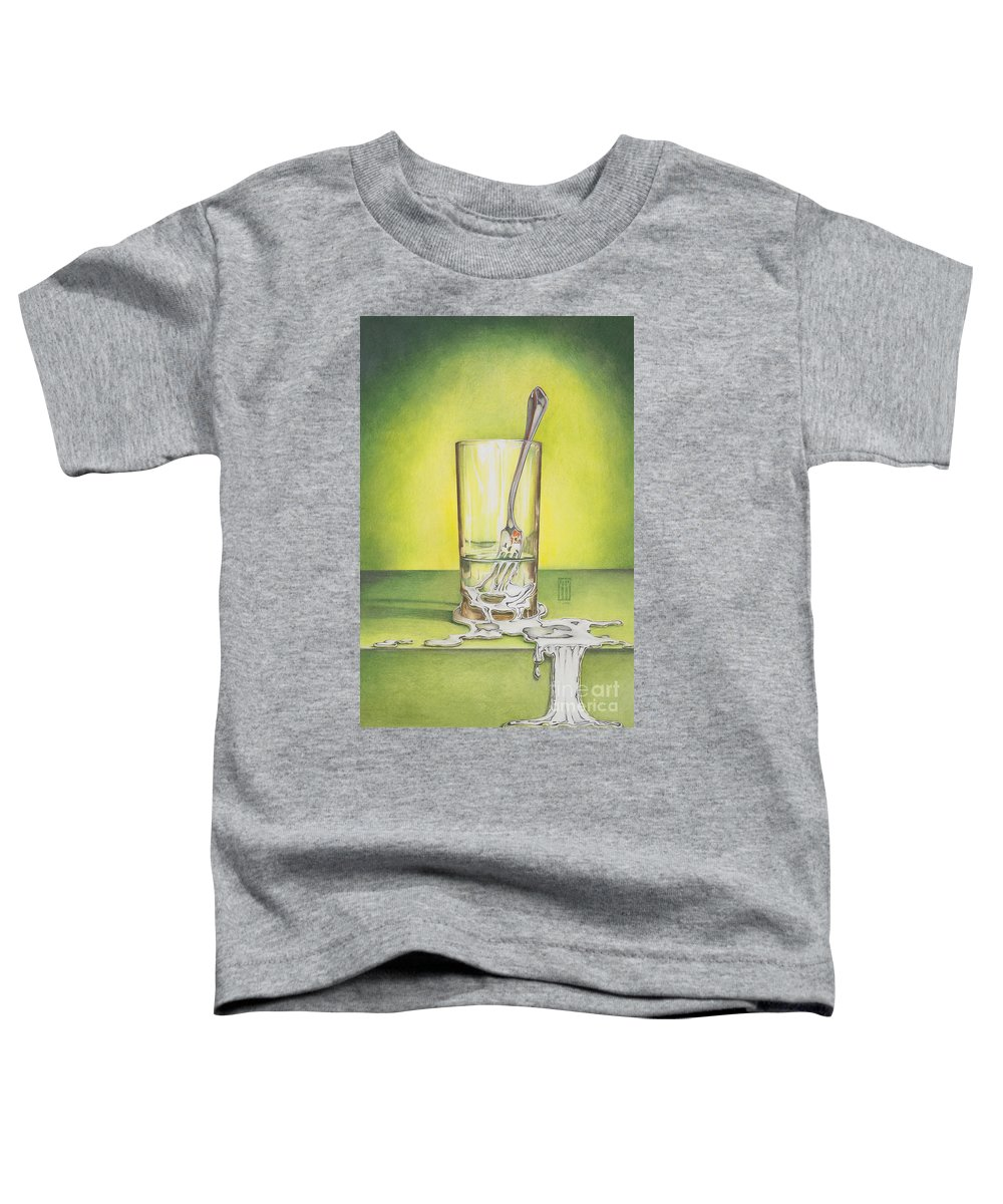 Bizarre Toddler T-Shirt featuring the painting Glass With Melting Fork by Melissa A Benson