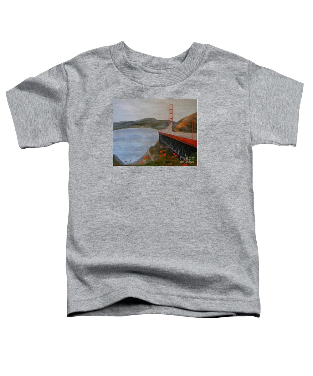 Golden Gate Bridge Toddler T-Shirt featuring the painting Golden Gate Bridge by Ellen Beauregard