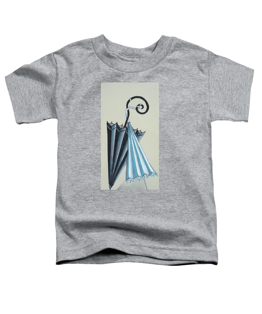 Umbrellas Toddler T-Shirt featuring the painting Goog Morning by Olga Alexeeva