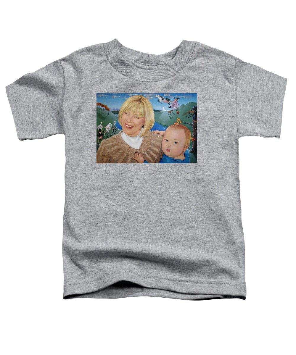 Portrait Toddler T-Shirt featuring the painting Grandma And Kaidin by Jerrold Carton