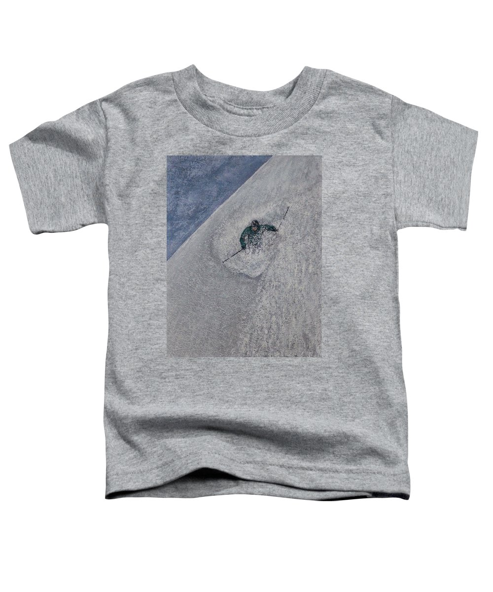 Ski Toddler T-Shirt featuring the painting Gravity by Michael Cuozzo