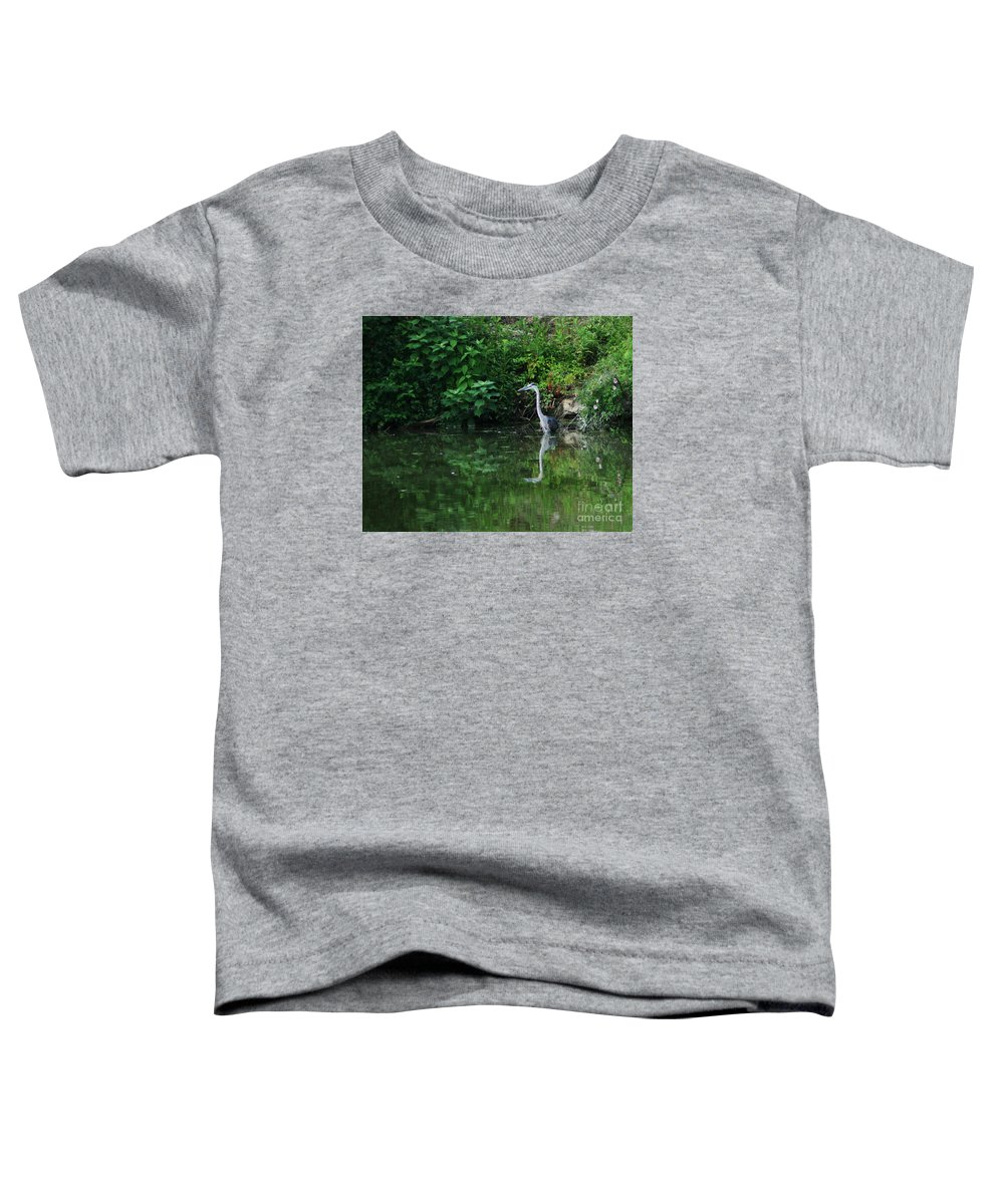 Lanscape Water Bird Crane Heron Blue Green Flowers Great Photograph Toddler T-Shirt featuring the photograph Great Blue Heron Hunting Fish by Dawn Downour