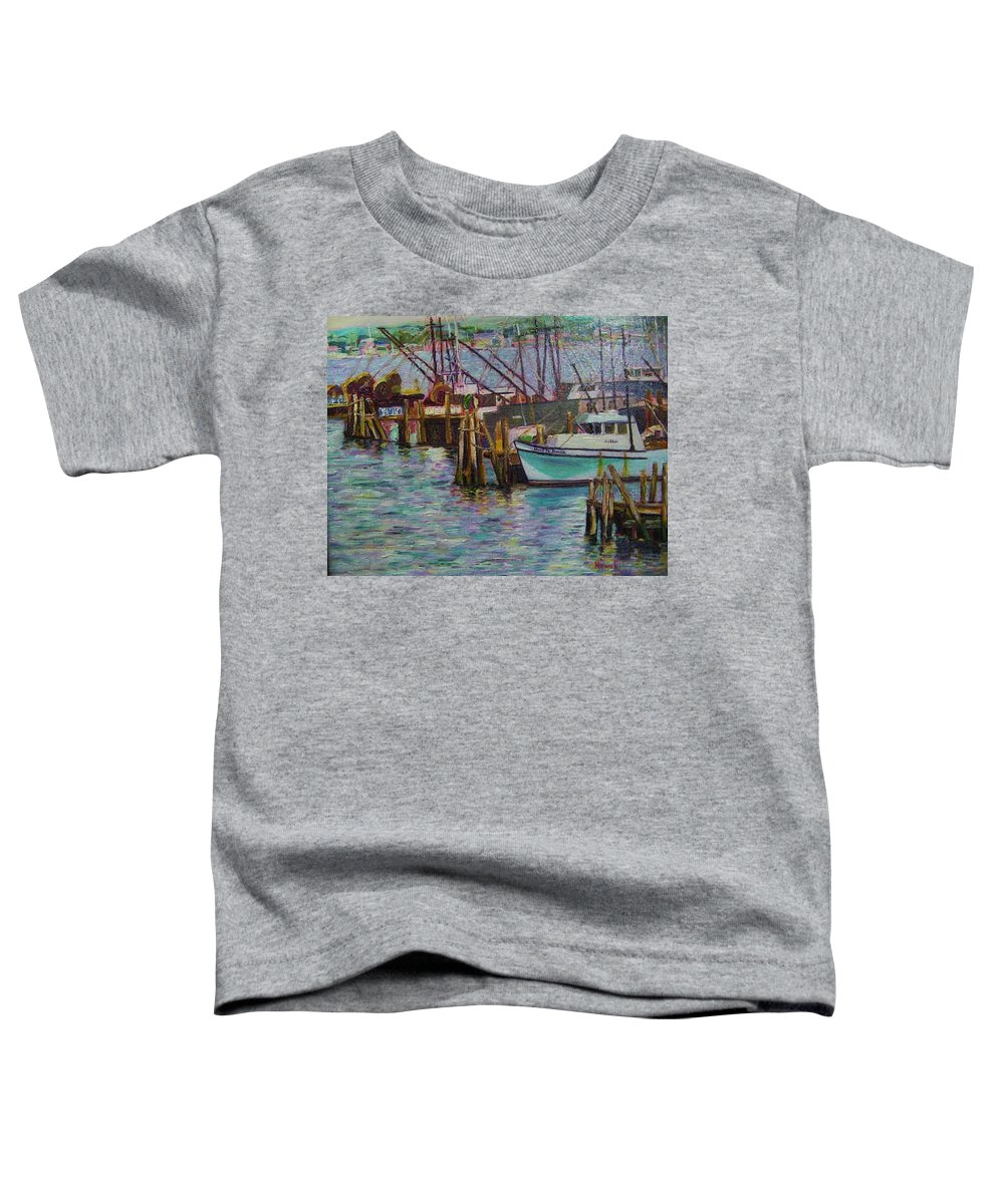 Boat Toddler T-Shirt featuring the painting Green Boat At Rest- Nova Scotia by Richard Nowak