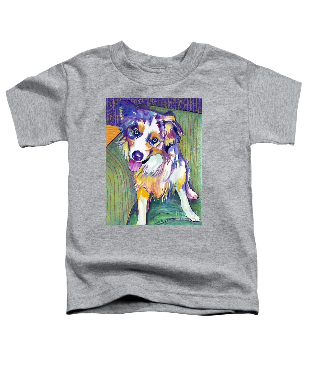 Pat Saunders-white Toddler T-Shirt featuring the painting Green Couch  by Pat Saunders-White