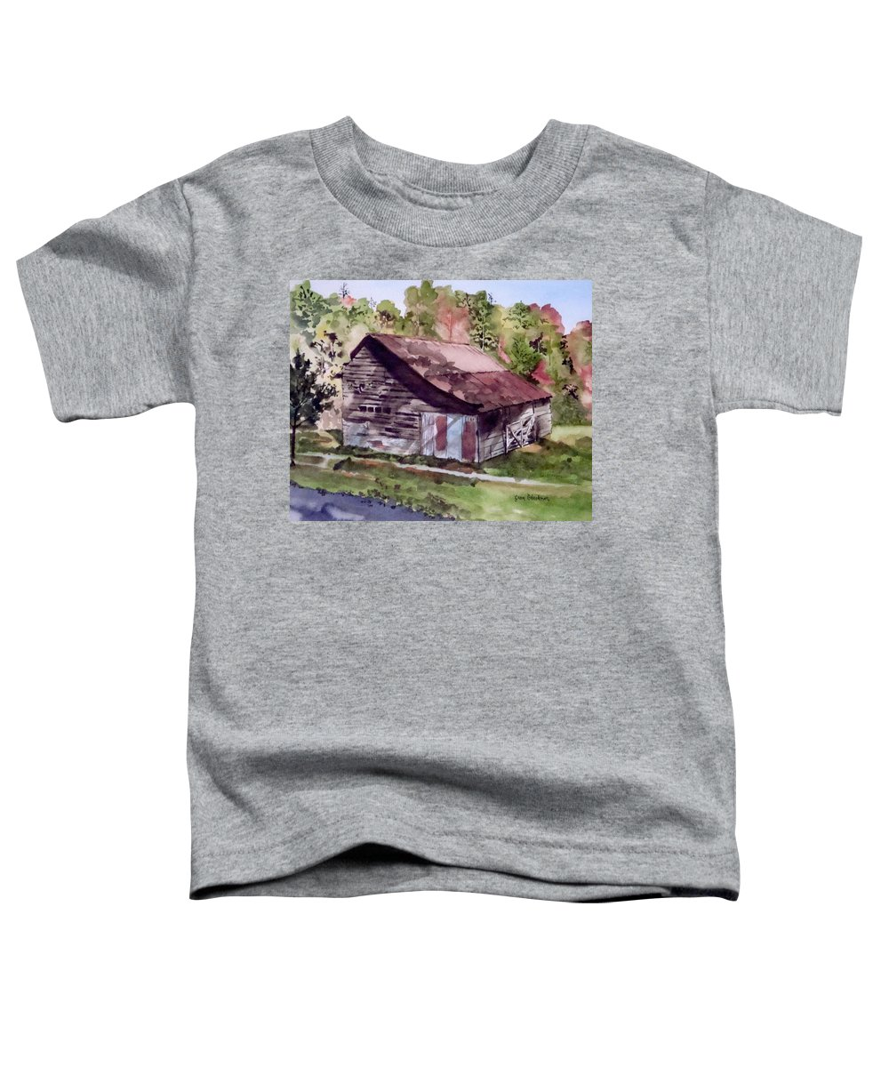 Barns Toddler T-Shirt featuring the painting Green Creek Barn by Jean Blackmer