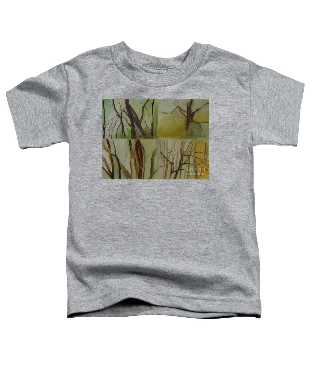 Spring Young Trees Saplings Trees Toddler T-Shirt featuring the painting Green Sonnet by Leila Atkinson