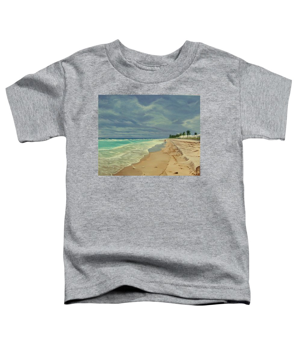 Beach Toddler T-Shirt featuring the painting Grey Day On The Beach by Lea Novak