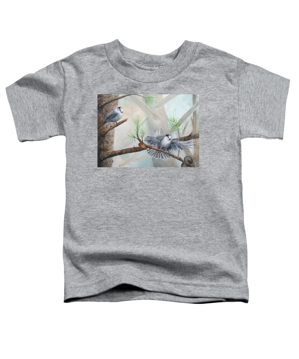 Grey Jay Toddler T-Shirt featuring the painting Grey Jays In A Jack Pine by Ruth Kamenev