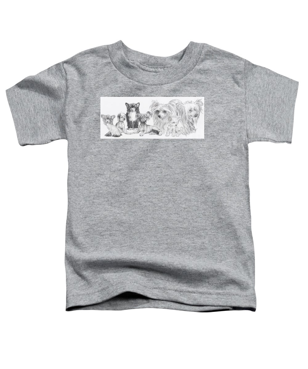 Toy Group Toddler T-Shirt featuring the drawing Growing Up Chinese Crested And Powderpuff by Barbara Keith
