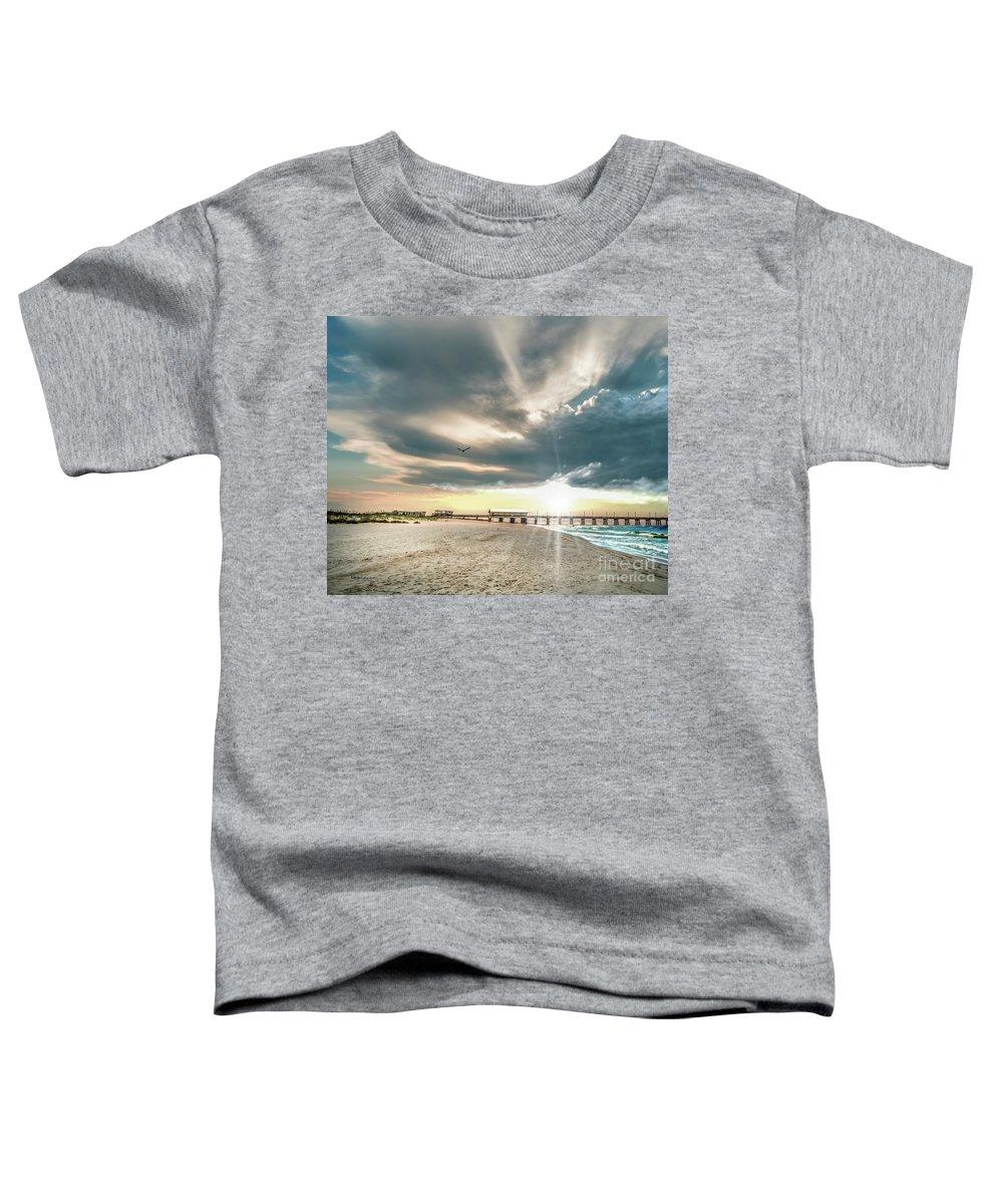 Al Toddler T-Shirt featuring the photograph Gulf Shores Al Pier Seascape Sunrise 152c by Ricardos Creations