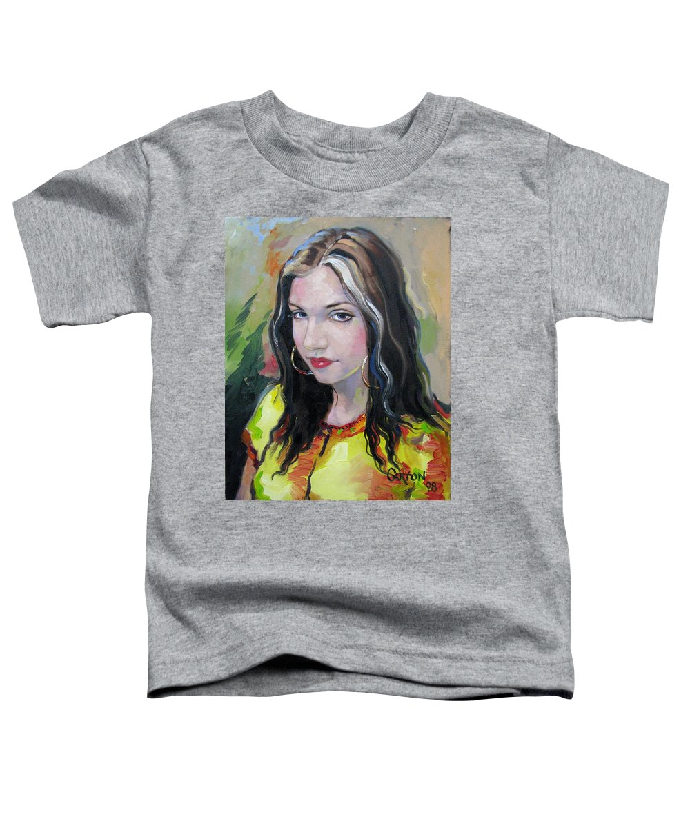 Gypsy Toddler T-Shirt featuring the painting Gypsy Girl by Jerrold Carton