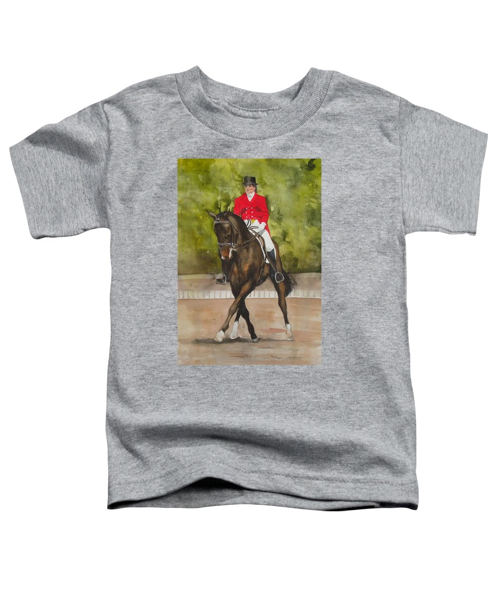 Horse Toddler T-Shirt featuring the painting Half-Pass To The Right by Jean Blackmer