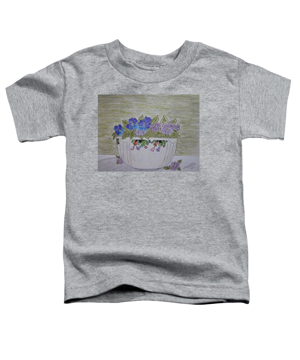 Hall China Toddler T-Shirt featuring the painting Hall China Crocus Bowl With Violets by Kathy Marrs Chandler